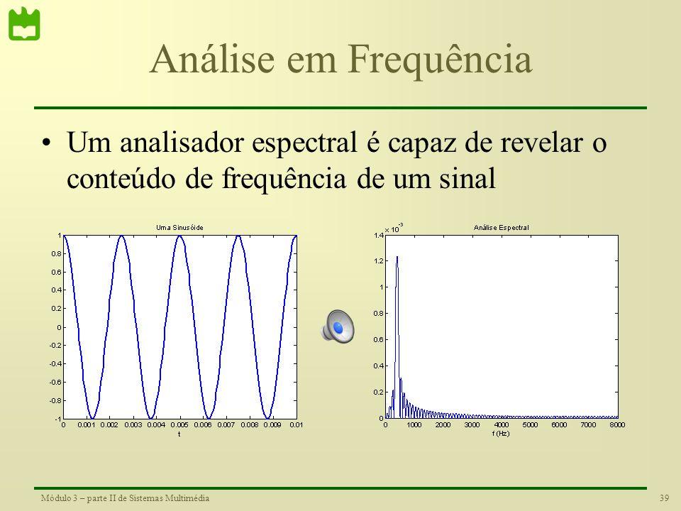 38Módulo 3 – parte II de Sistemas Multimédia Conteúdo de Frequência de um Sinal