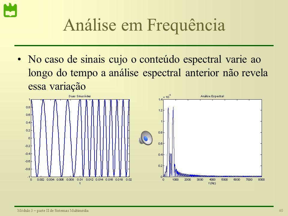 39Módulo 3 – parte II de Sistemas Multimédia Análise em Frequência •Um analisador espectral é capaz de revelar o conteúdo de frequência de um sinal