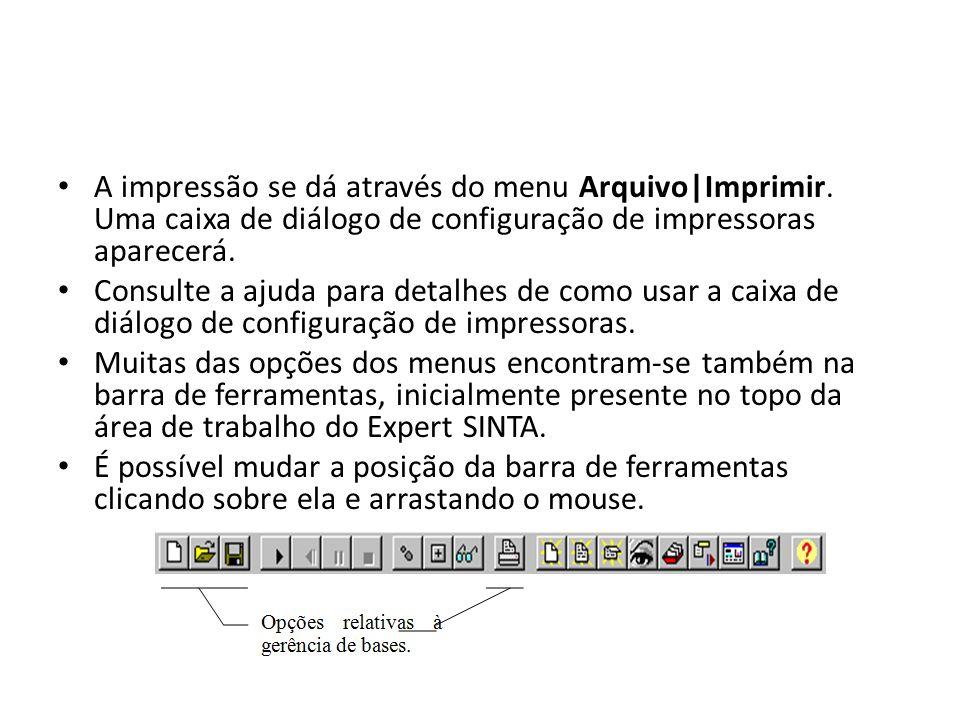• A impressão se dá através do menu Arquivo|Imprimir. Uma caixa de diálogo de configuração de impressoras aparecerá. • Consulte a ajuda para detalhes