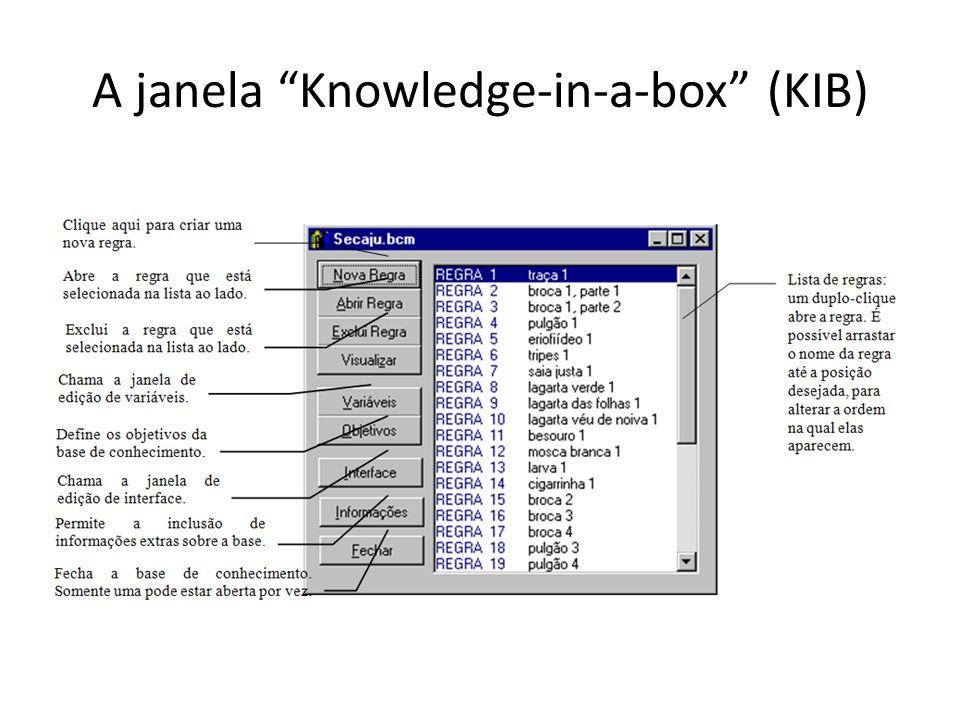 • Essa janela traz todas as opções de edição de base, além de uma lista com todas as regras presentes até o momento.