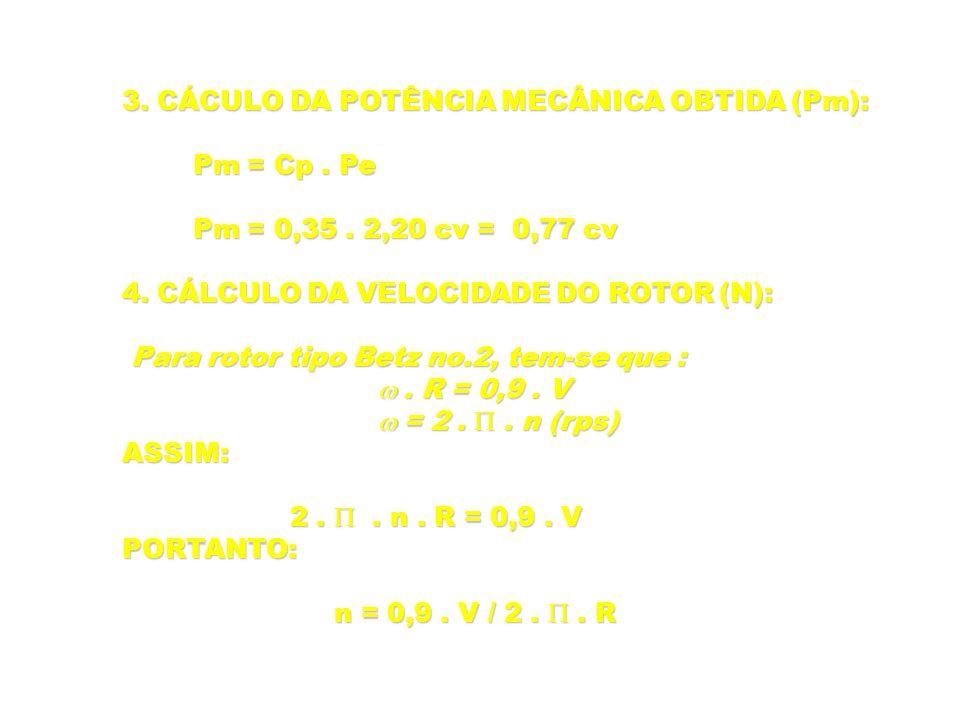 3. CÁCULO DA POTÊNCIA MECÂNICA OBTIDA (Pm): Pm = Cp. Pe Pm = Cp. Pe Pm = 0,35. 2,20 cv = 0,77 cv Pm = 0,35. 2,20 cv = 0,77 cv 4. CÁLCULO DA VELOCIDADE