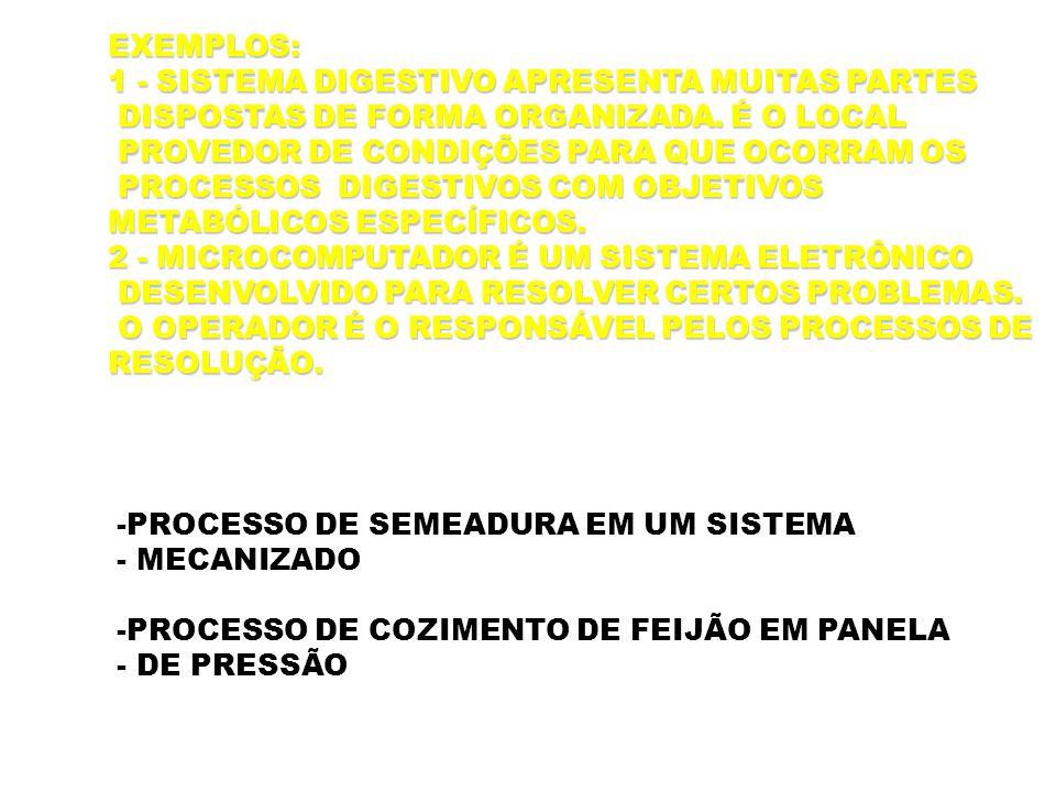-PROCESSO DE SEMEADURA EM UM SISTEMA - MECANIZADO -PROCESSO DE COZIMENTO DE FEIJÃO EM PANELA - DE PRESSÃO EXEMPLOS: 1 - SISTEMA DIGESTIVO APRESENTA MU