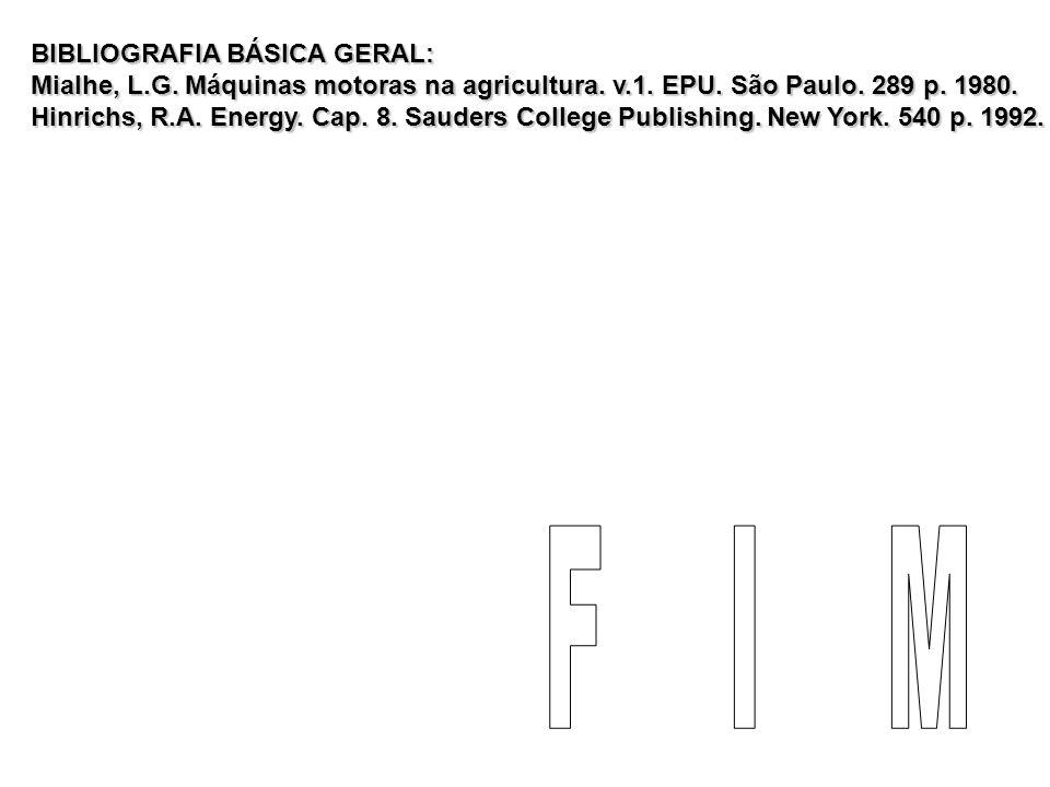 BIBLIOGRAFIA BÁSICA GERAL: Mialhe, L.G. Máquinas motoras na agricultura. v.1. EPU. São Paulo. 289 p. 1980. Hinrichs, R.A. Energy. Cap. 8. Sauders Coll