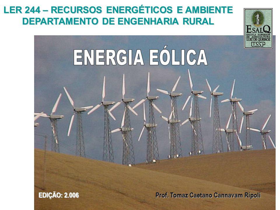LER 244 – RECURSOS ENERGÉTICOS E AMBIENTE DEPARTAMENTO DE ENGENHARIA RURAL EDIÇÃO: 2.006 Prof. Tomaz Caetano Cannavam Ripoli