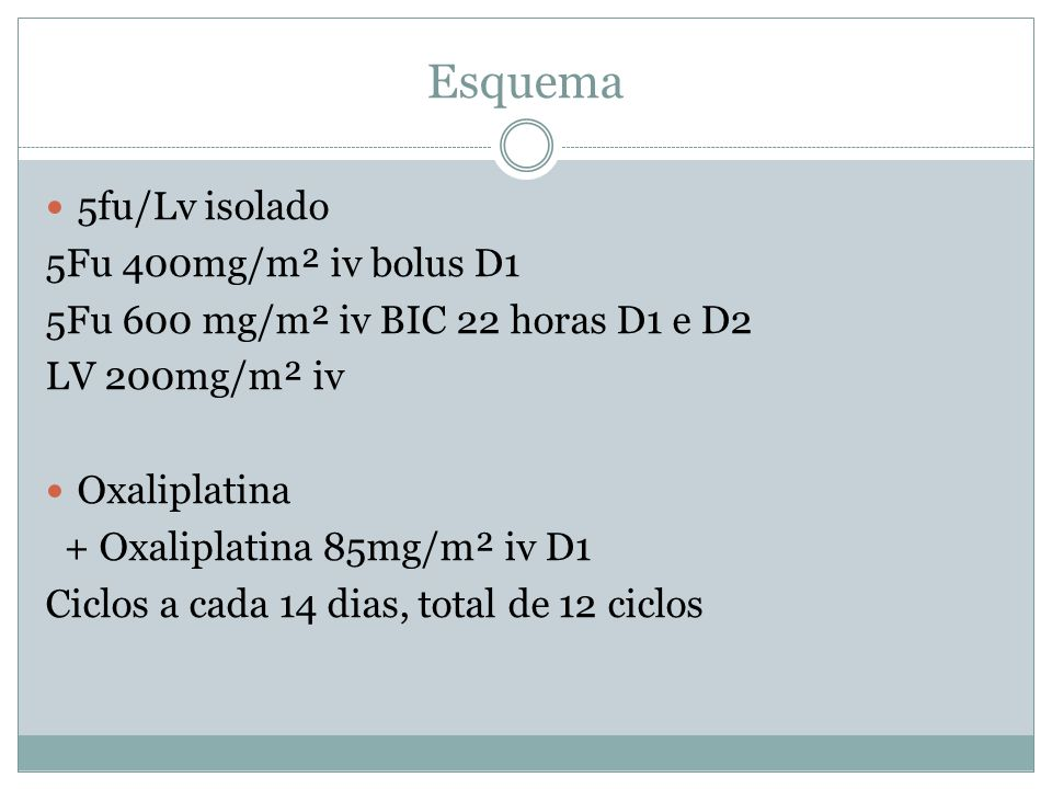Esquema  5fu/Lv isolado 5Fu 400mg/m² iv bolus D1 5Fu 600 mg/m² iv BIC 22 horas D1 e D2 LV 200mg/m² iv  Oxaliplatina + Oxaliplatina 85mg/m² iv D1 Cic