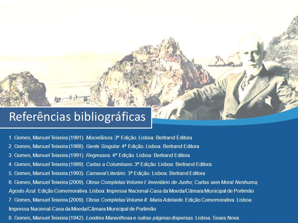 Referências bibliográficas 1. Gomes, Manuel Teixeira (1991).
