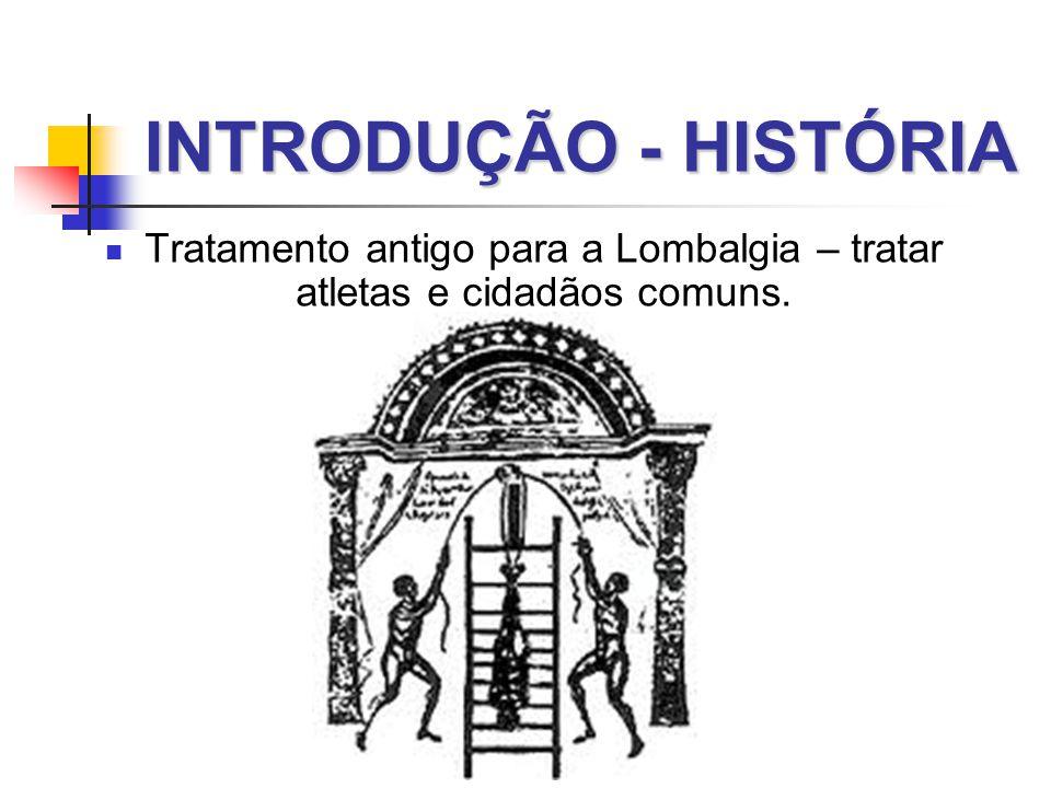 INTRODUÇÃO - HISTÓRIA  Tratamento antigo para a Lombalgia – tratar atletas e cidadãos comuns.