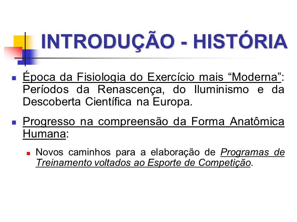 INTRODUÇÃO - HISTÓRIA  Época da Fisiologia do Exercício mais Moderna : Períodos da Renascença, do Iluminismo e da Descoberta Científica na Europa.