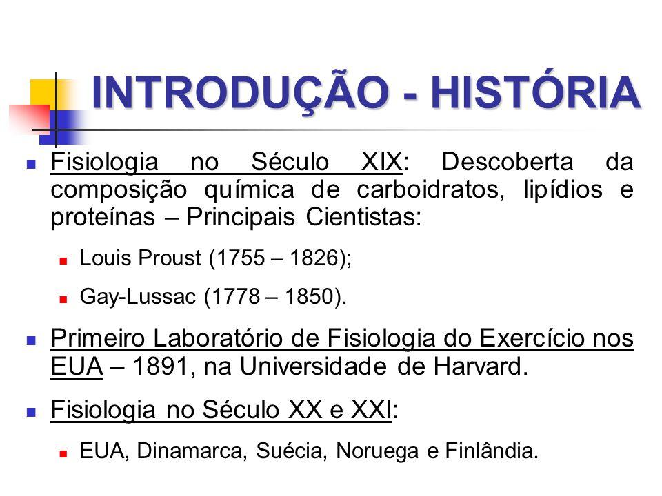 INTRODUÇÃO - HISTÓRIA  Fisiologia no Século XIX: Descoberta da composição química de carboidratos, lipídios e proteínas – Principais Cientistas:  Louis Proust (1755 – 1826);  Gay-Lussac (1778 – 1850).