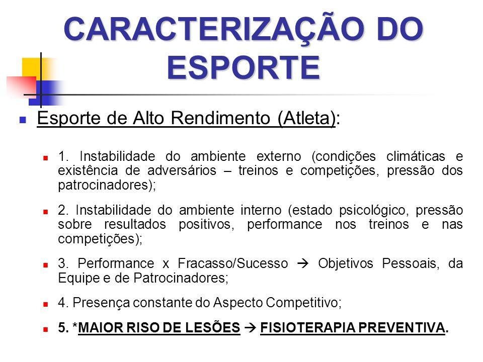CARACTERIZAÇÃO DO ESPORTE  Esporte de Alto Rendimento (Atleta):  1.