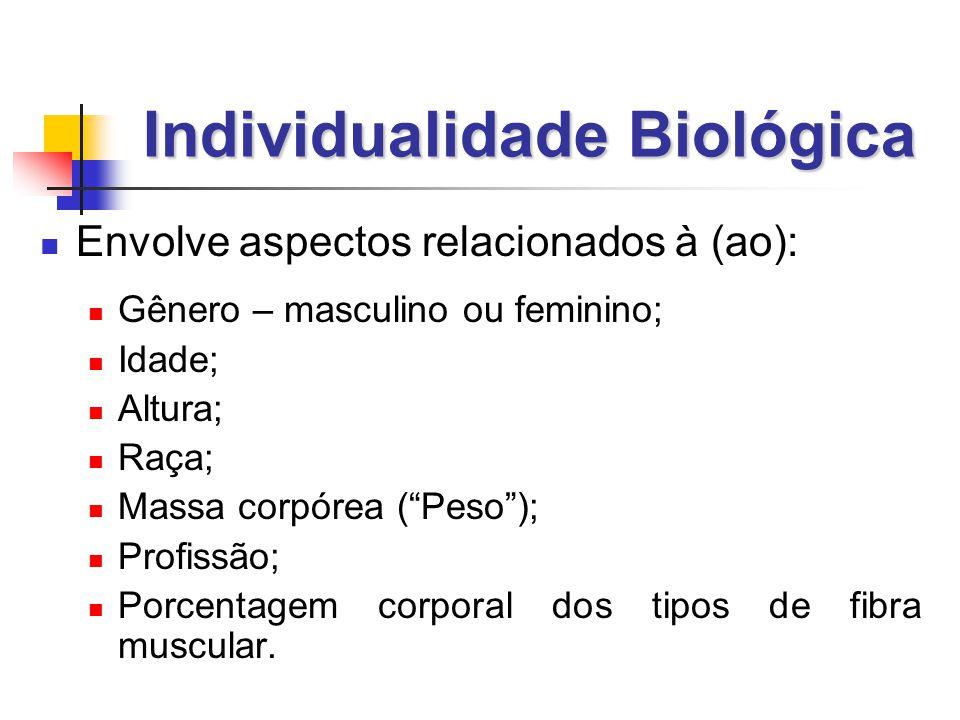 Individualidade Biológica  Envolve aspectos relacionados à (ao):  Gênero – masculino ou feminino;  Idade;  Altura;  Raça;  Massa corpórea ( Peso );  Profissão;  Porcentagem corporal dos tipos de fibra muscular.