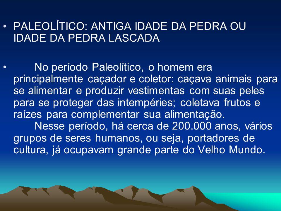 •PALEOLÍTICO: ANTIGA IDADE DA PEDRA OU IDADE DA PEDRA LASCADA • No período Paleolítico, o homem era principalmente caçador e coletor: caçava animais p