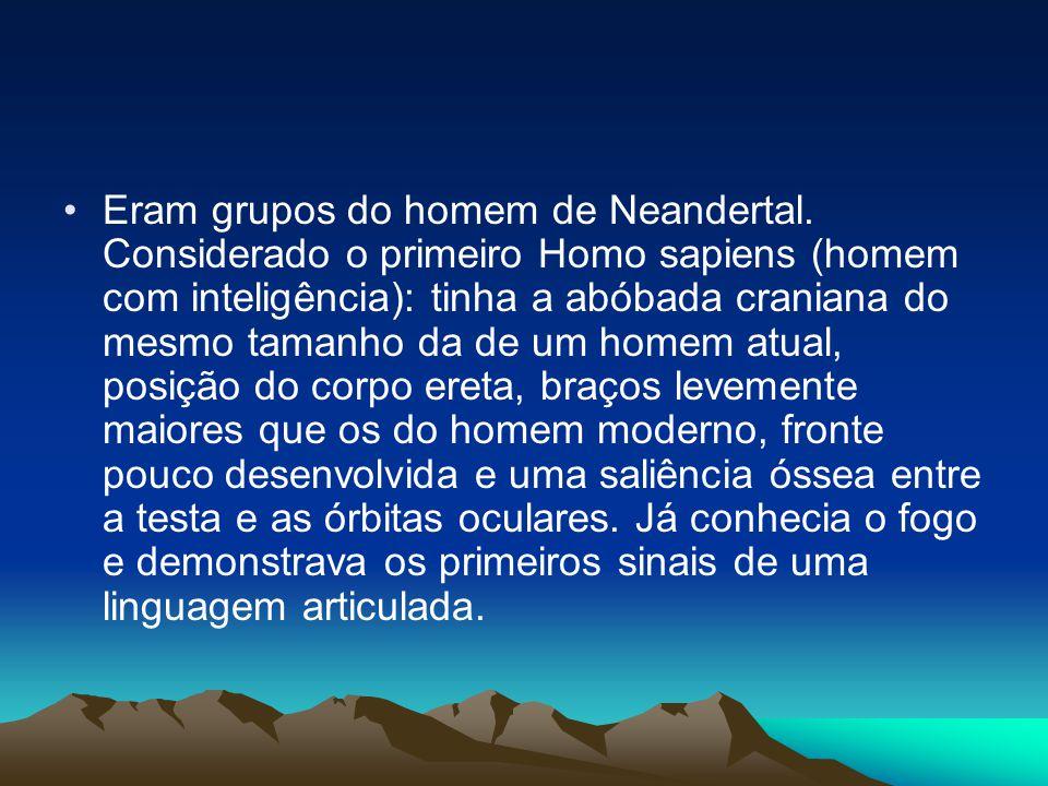 •Eram grupos do homem de Neandertal. Considerado o primeiro Homo sapiens (homem com inteligência): tinha a abóbada craniana do mesmo tamanho da de um