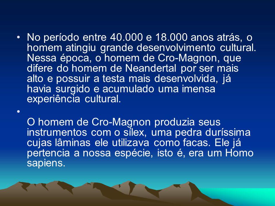 •No período entre 40.000 e 18.000 anos atrás, o homem atingiu grande desenvolvimento cultural. Nessa época, o homem de Cro-Magnon, que difere do homem