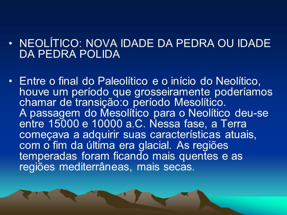 •NEOLÍTICO: NOVA IDADE DA PEDRA OU IDADE DA PEDRA POLIDA •Entre o final do Paleolítico e o início do Neolítico, houve um período que grosseiramente poderíamos chamar de transição:o período Mesolítico.