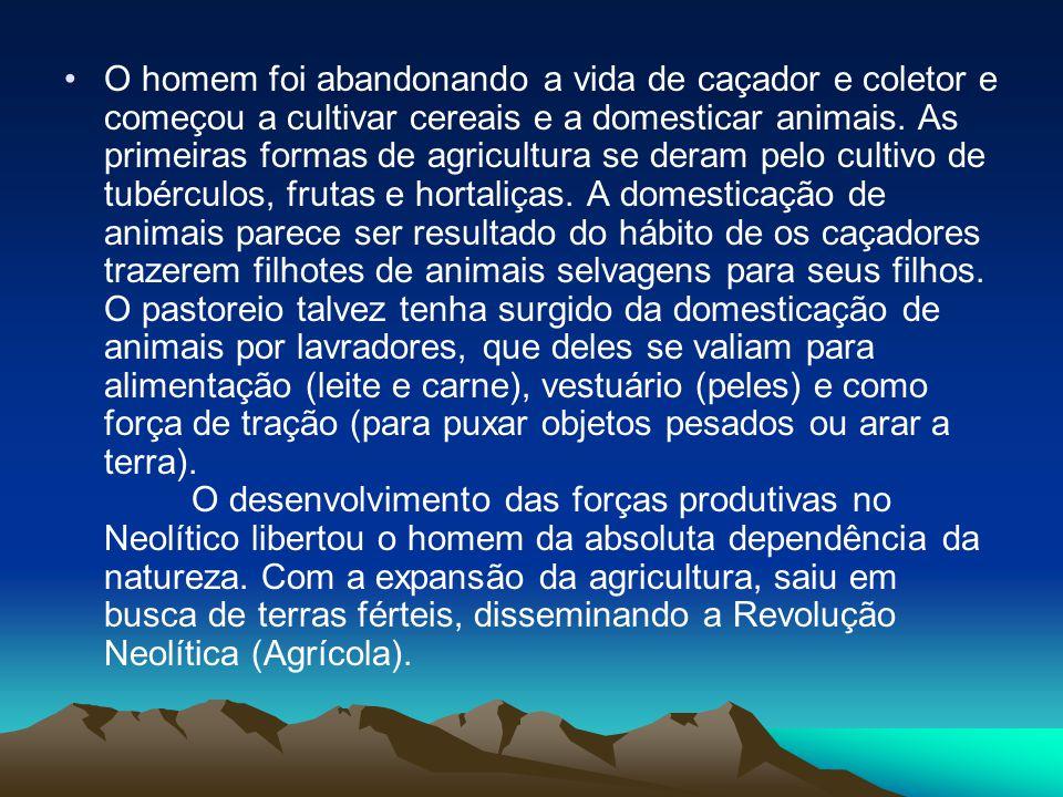 •O homem foi abandonando a vida de caçador e coletor e começou a cultivar cereais e a domesticar animais. As primeiras formas de agricultura se deram