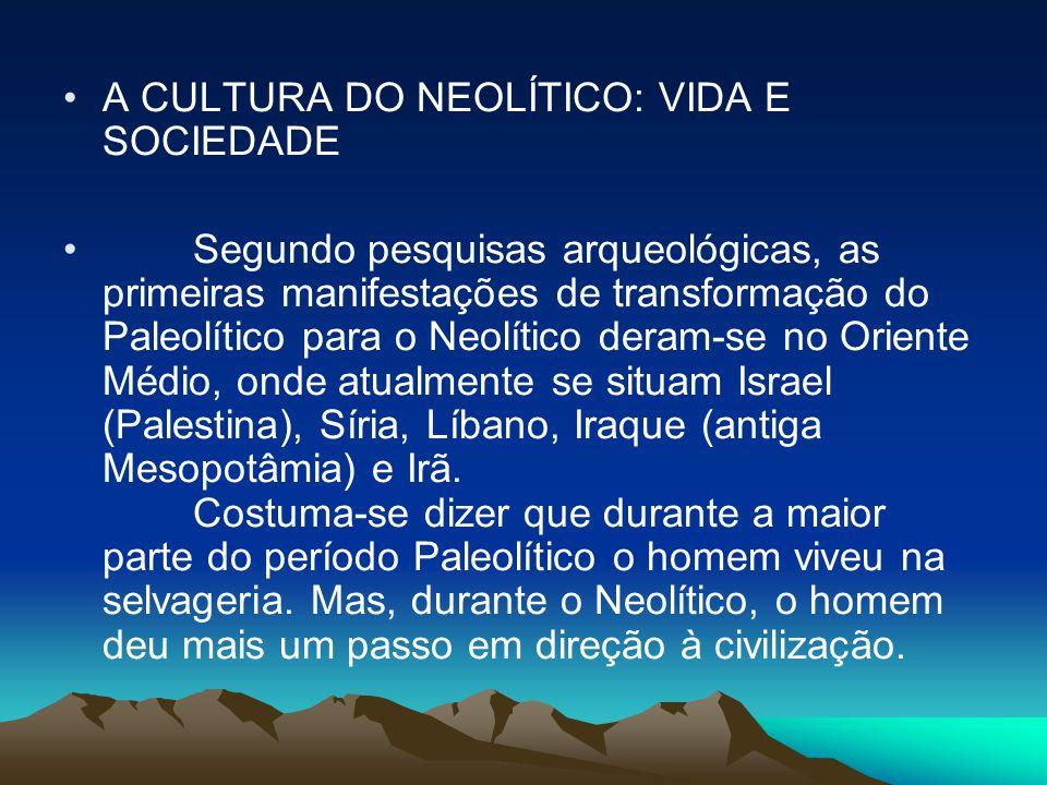 •A CULTURA DO NEOLÍTICO: VIDA E SOCIEDADE • Segundo pesquisas arqueológicas, as primeiras manifestações de transformação do Paleolítico para o Neolíti
