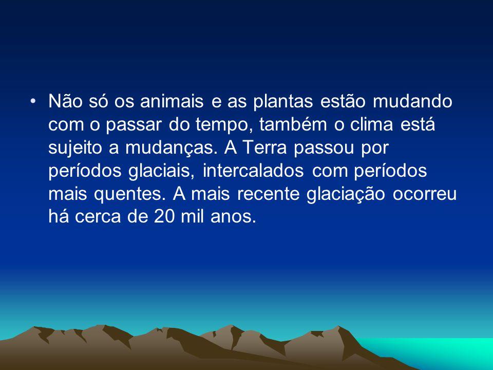 •Não só os animais e as plantas estão mudando com o passar do tempo, também o clima está sujeito a mudanças. A Terra passou por períodos glaciais, int