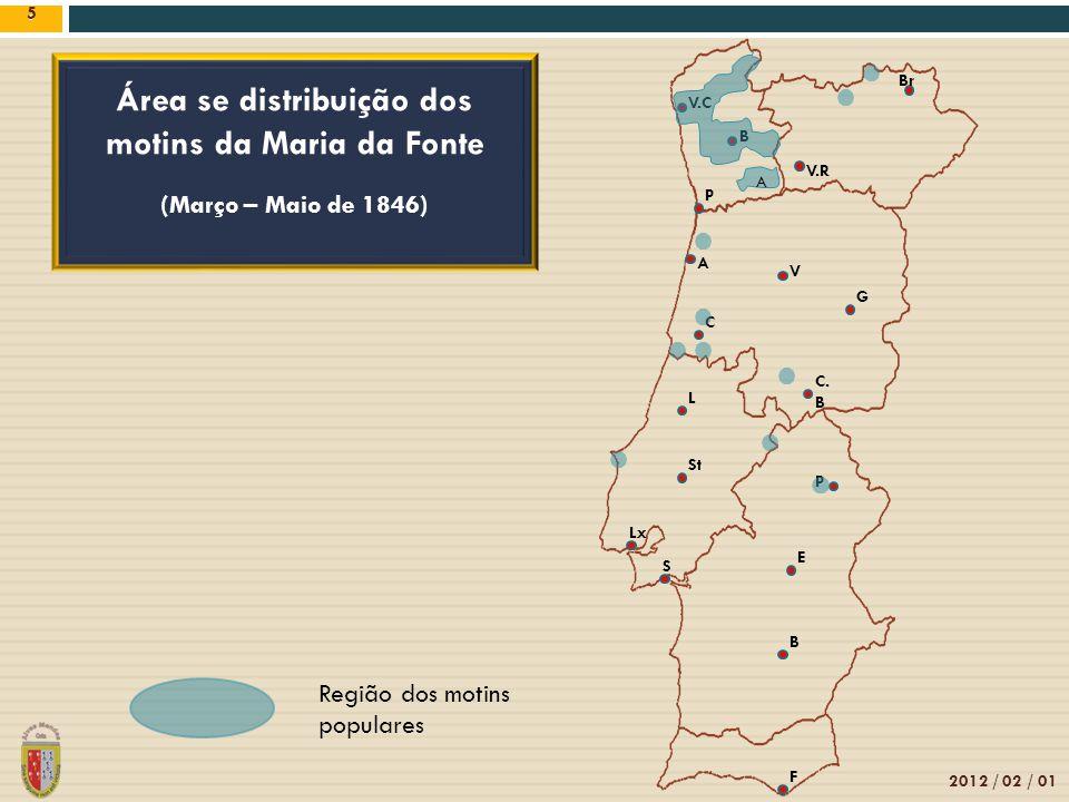 5 2012 / 02 / 01 5 Área se distribuição dos motins da Maria da Fonte (Março – Maio de 1846) Região dos motins populares V.C B Br V.R V P A C. B G L C