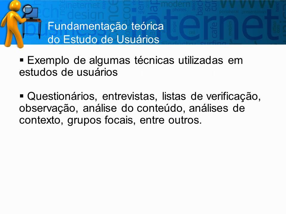 Fundamentação teórica do Estudo de Usuários  Exemplo de algumas técnicas utilizadas em estudos de usuários  Questionários, entrevistas, listas de ve