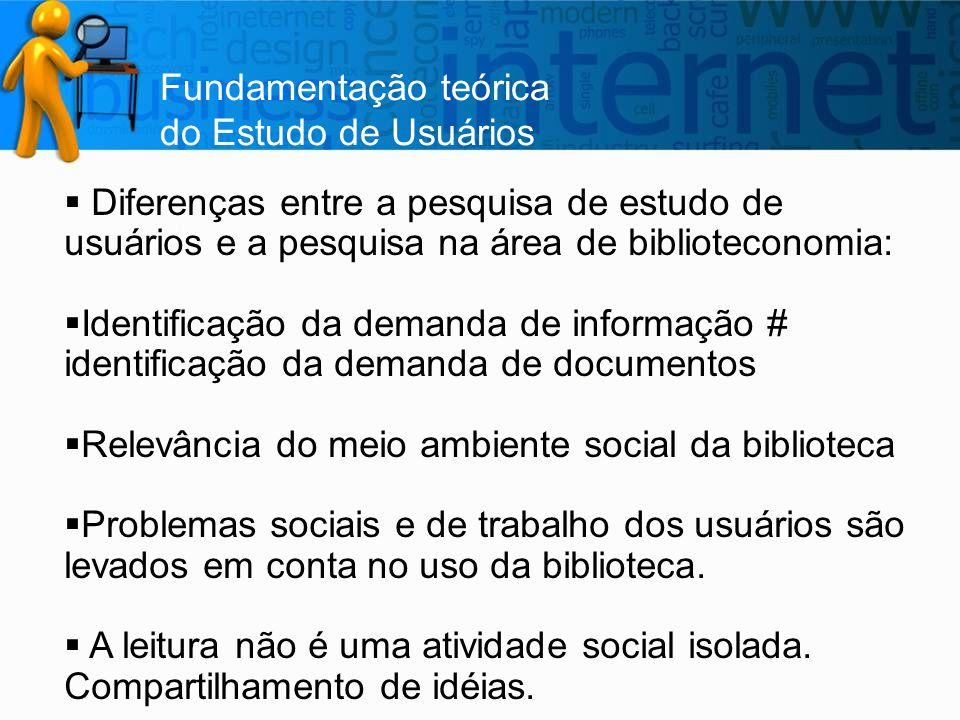 Fundamentação teórica do Estudo de Usuários  Diferenças entre a pesquisa de estudo de usuários e a pesquisa na área de biblioteconomia:  Identificaç