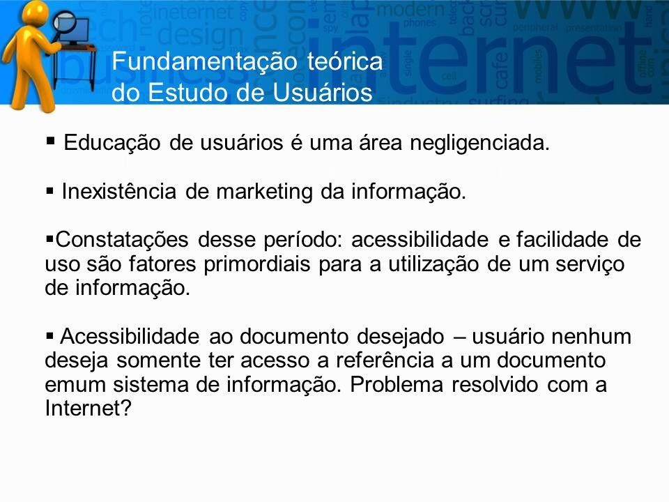Fundamentação teórica do Estudo de Usuários  Educação de usuários é uma área negligenciada.  Inexistência de marketing da informação.  Constatações