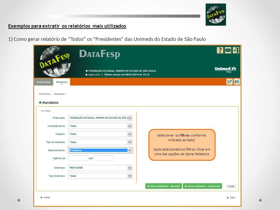 Exemplos para extratir os relatórios mais utilizados 1) Como gerar relatório de Todos os Presidentes das Unimeds do Estado de São Paulo Selecionar os Filtros conforme indicado ao lado.