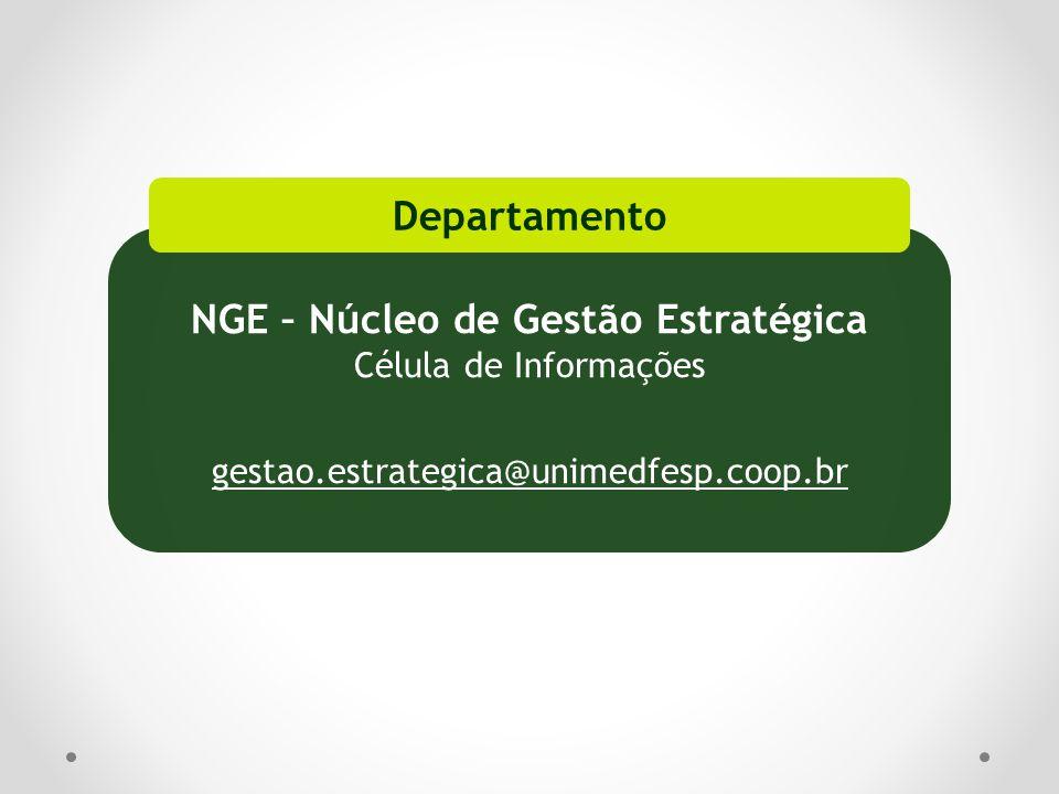 NGE – Núcleo de Gestão Estratégica Célula de Informações gestao.estrategica@unimedfesp.coop.br Departamento
