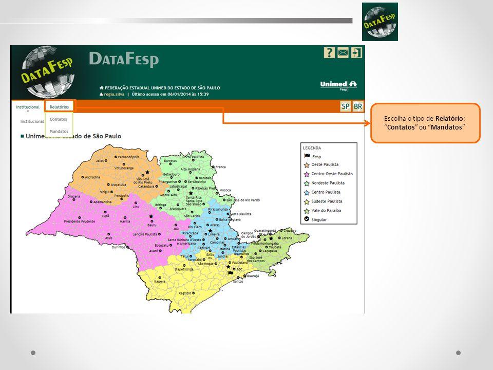 Título do Slide Relatório de Contatos: 1.Federação, pode-se optar:  Federação das Unimeds do Estado de São Paulo;  Não considerar.