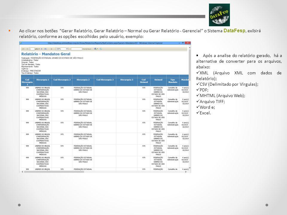 Título do Slide  Ao clicar nos botões Gerar Relatório, Gerar Relatório – Normal ou Gerar Relatório - Gerencial o Sistema DataFesp, exibirá relatório, conforme as opções escolhidas pelo usuário, exemplo:  Após a analise do relatório gerado, há a alternativa de converter para os arquivos, abaixo:  XML (Arquivo XML com dados de Relatório);  CSV (Delimitado por Virgulas);  PDF;  MHTML (Arquivo Web);  Arquivo TIFF;  Word e;  Excel.