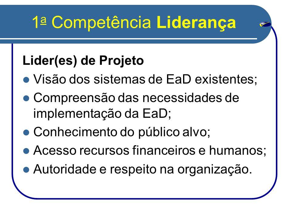 1 a Competência Liderança Lider(es) de Projeto  Visão dos sistemas de EaD existentes;  Compreensão das necessidades de implementação da EaD;  Conhecimento do público alvo;  Acesso recursos financeiros e humanos;  Autoridade e respeito na organização.