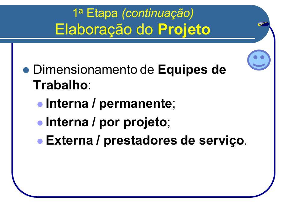 1 a Etapa (continuação) Elaboração do Projeto  Dimensionamento de Equipes de Trabalho:  Interna / permanente;  Interna / por projeto;  Externa / prestadores de serviço.