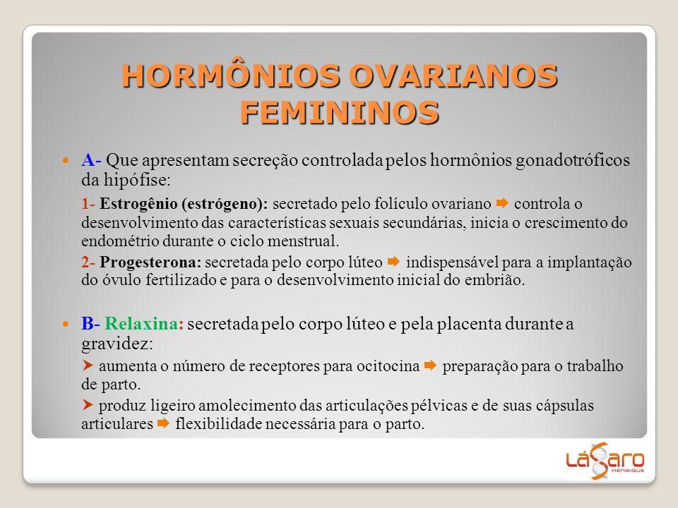 HORMÔNIOS OVARIANOS FEMININOS  A- Que apresentam secreção controlada pelos hormônios gonadotróficos da hipófise: 1- Estrogênio (estrógeno): secretado