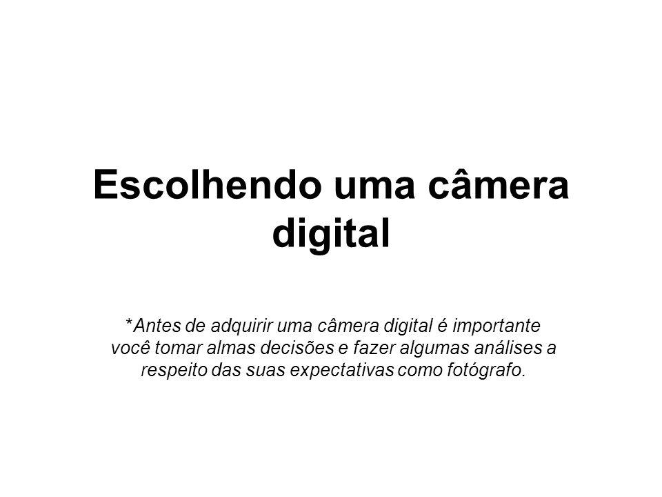 Escolhendo uma câmera digital *Antes de adquirir uma câmera digital é importante você tomar almas decisões e fazer algumas análises a respeito das sua