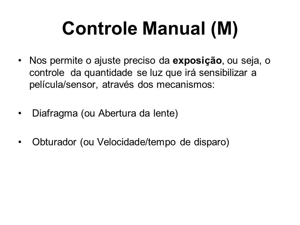 Controle Manual (M) •Nos permite o ajuste preciso da exposição, ou seja, o controle da quantidade se luz que irá sensibilizar a película/sensor, atrav