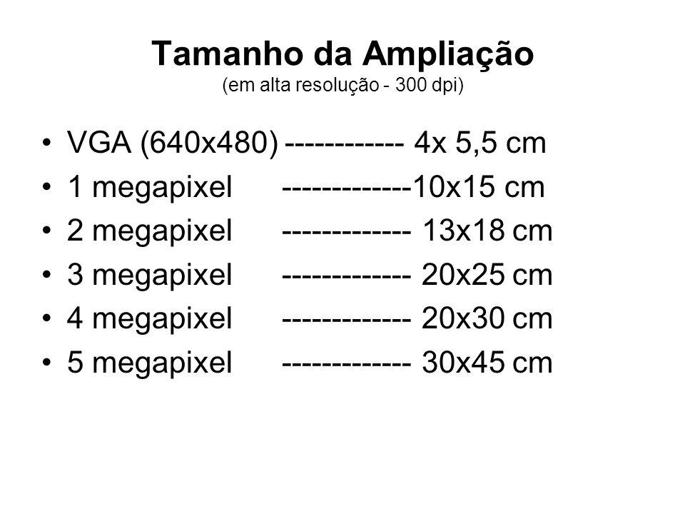 Tamanho da Ampliação (em alta resolução - 300 dpi) •VGA (640x480) ------------ 4x 5,5 cm •1 megapixel -------------10x15 cm •2 megapixel -------------