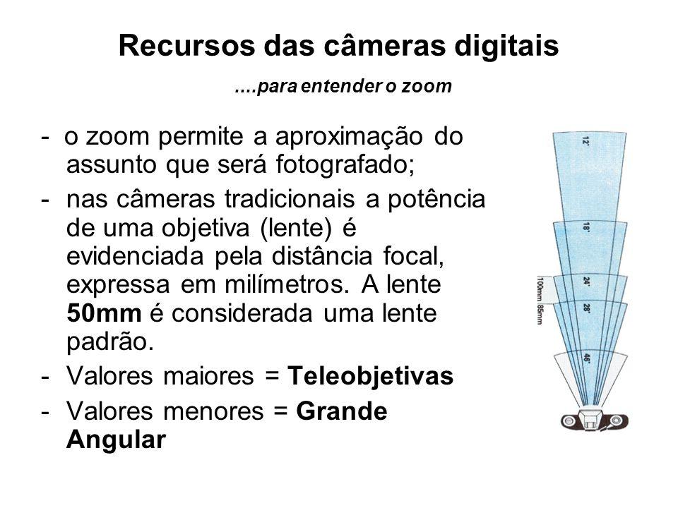Recursos das câmeras digitais....para entender o zoom - o zoom permite a aproximação do assunto que será fotografado; -nas câmeras tradicionais a potê
