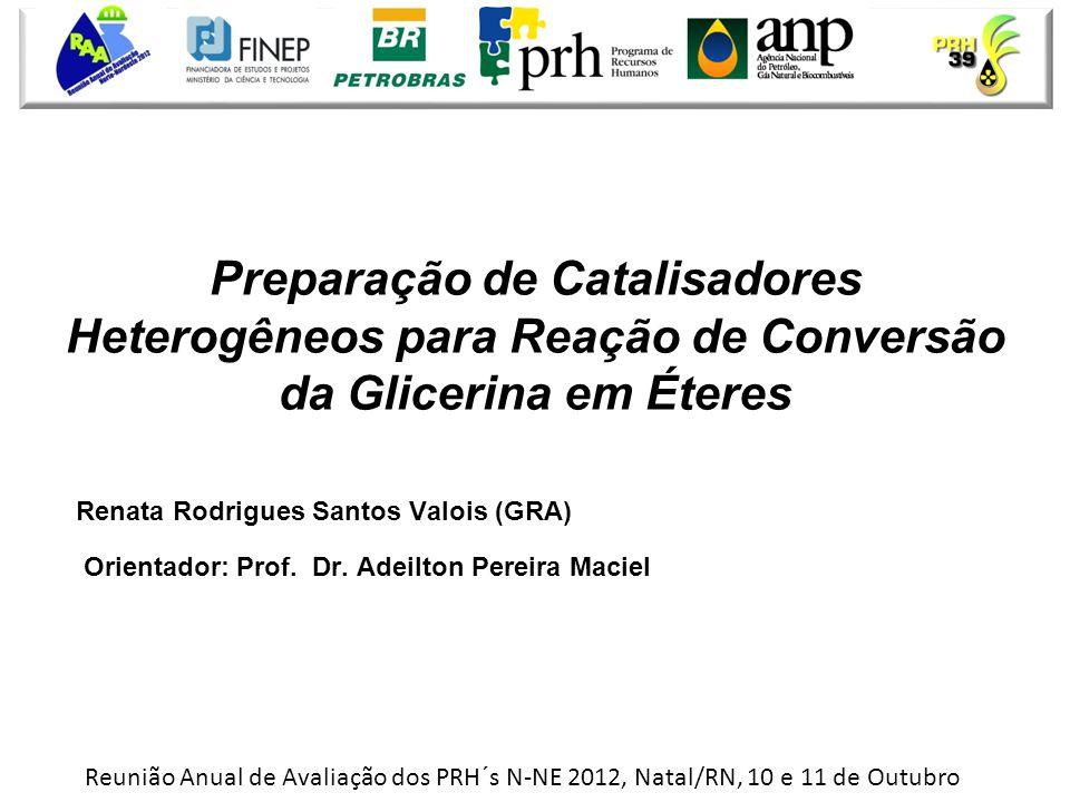 • Renata Rodrigues Santos Valois (GRA) • Orientador: Prof. Dr. Adeilton Pereira Maciel Preparação de Catalisadores Heterogêneos para Reação de Convers
