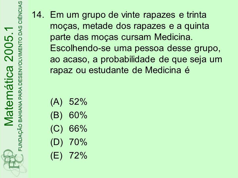 14.Em um grupo de vinte rapazes e trinta moças, metade dos rapazes e a quinta parte das moças cursam Medicina.