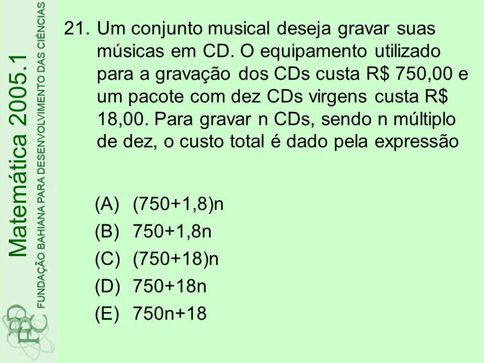 21.Um conjunto musical deseja gravar suas músicas em CD.