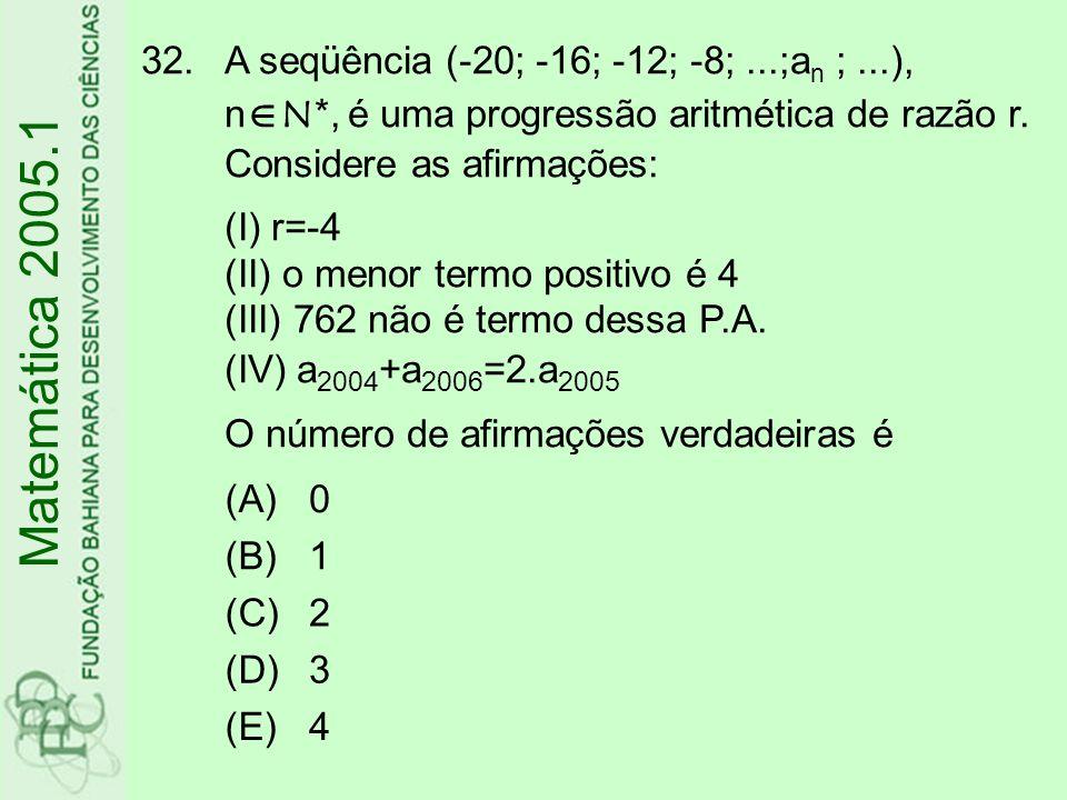 32.A seqüência (-20; -16; -12; -8;...;a n ;...), n  N*, é uma progressão aritmética de razão r.