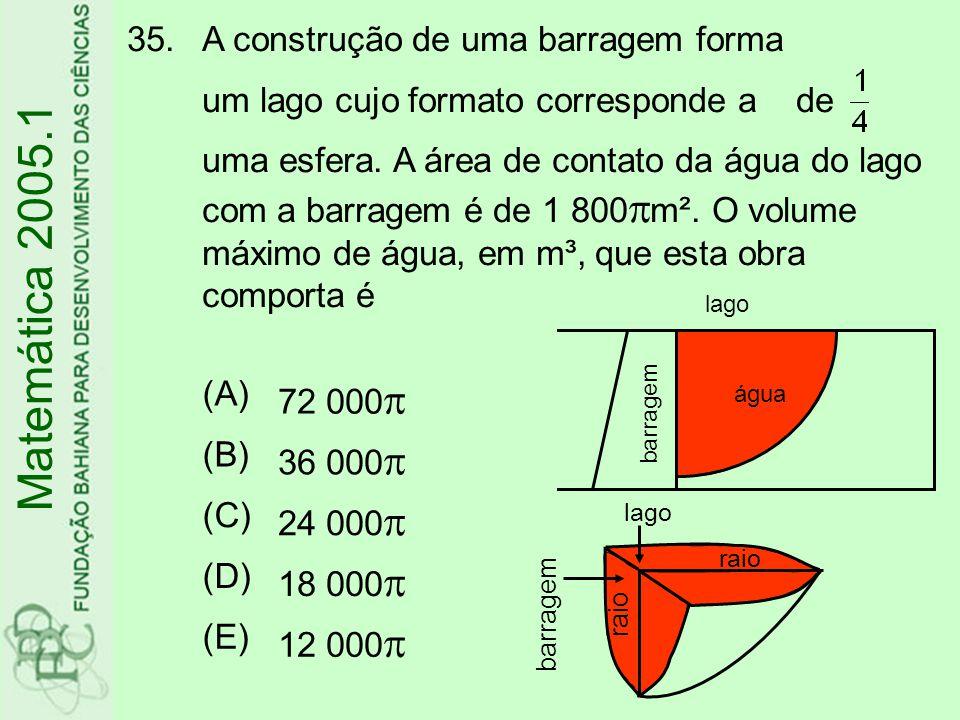 35.A construção de uma barragem forma um lago cujo formato corresponde a de uma esfera.