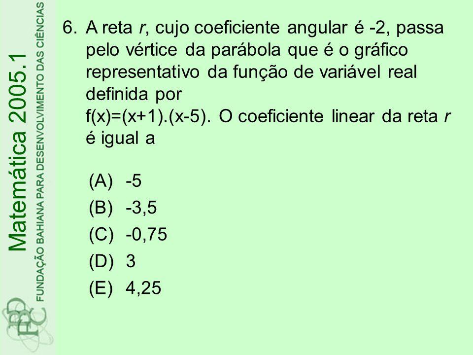 (A)triângulo (B)quadrângulo (C)pentágono (D)hexágono (E)heptágono 7.No plano cartesiano, o polígono determinado pelas desigualdades 2≤x≤8, 1≤y≤10, x+y≤15 é um Matemática 2005.1