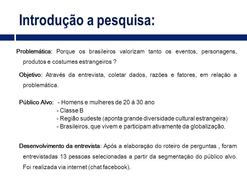 Introdução a pesquisa: Problemática: Porque os brasileiros valorizam tanto os eventos, personagens, produtos e costumes estrangeiros ? Objetivo: Atrav