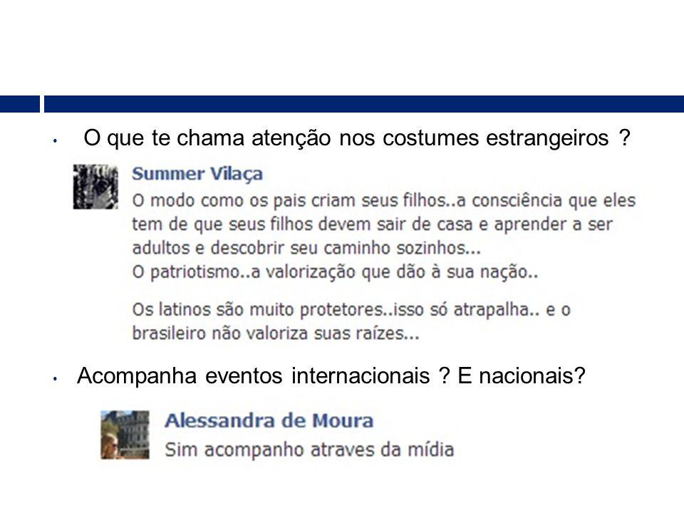 • O que te chama atenção nos costumes estrangeiros ? • Acompanha eventos internacionais ? E nacionais?