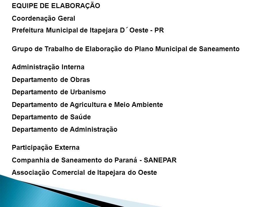 10/10/11 Prefeitura Municipal de Palmas - Gestão 2009-2012 EQUIPE DE ELABORAÇÃO Coordenação Geral Prefeitura Municipal de Itapejara D´Oeste - PR Grupo de Trabalho de Elaboração do Plano Municipal de Saneamento Administração Interna Departamento de Obras Departamento de Urbanismo Departamento de Agricultura e Meio Ambiente Departamento de Saúde Departamento de Administração Participação Externa Companhia de Saneamento do Paraná - SANEPAR Associação Comercial de Itapejara do Oeste