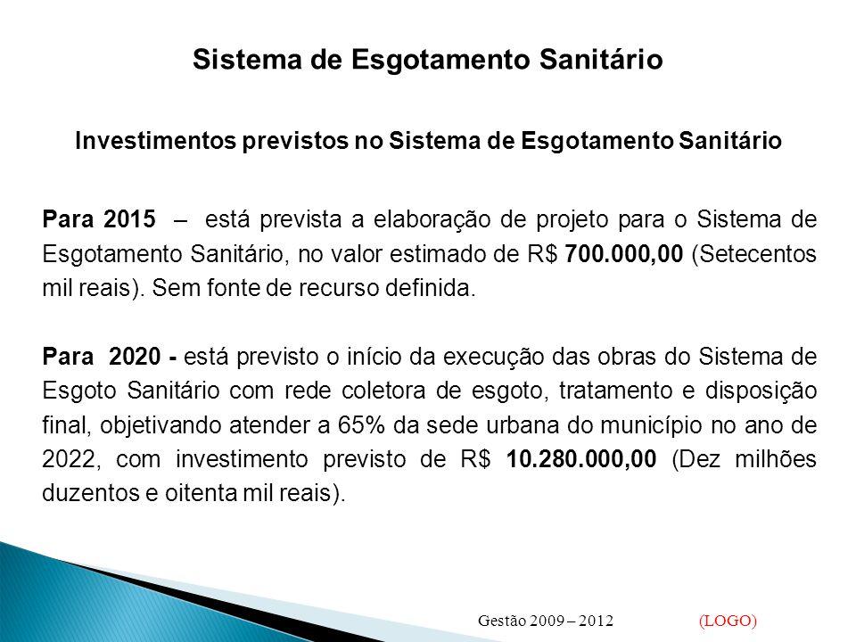 Sistema de Esgotamento Sanitário Investimentos previstos no Sistema de Esgotamento Sanitário Para 2015 – está prevista a elaboração de projeto para o Sistema de Esgotamento Sanitário, no valor estimado de R$ 700.000,00 (Setecentos mil reais).