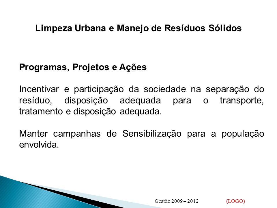 Limpeza Urbana e Manejo de Resíduos Sólidos Incentivar e participação da sociedade na separação do resíduo, disposição adequada para o transporte, tratamento e disposição adequada.