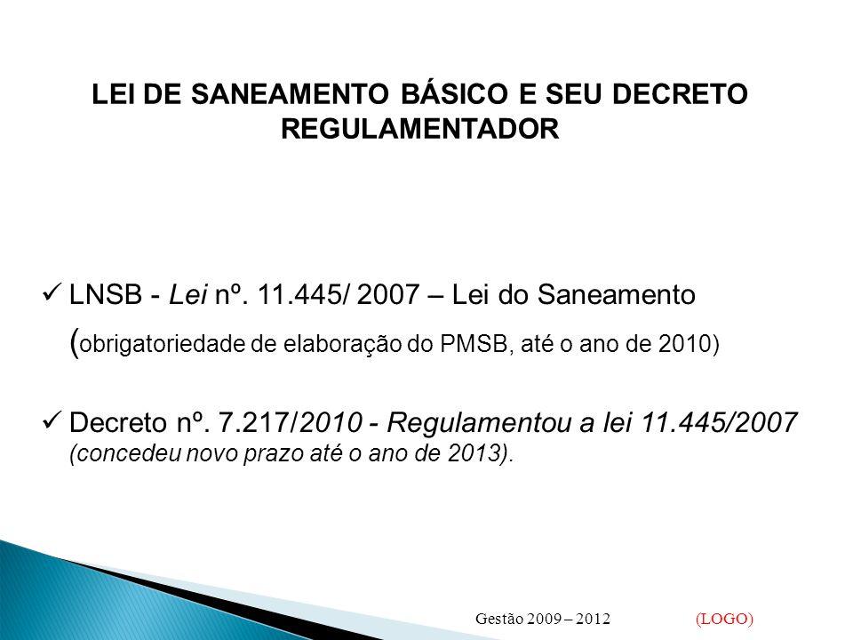 LEI DE SANEAMENTO BÁSICO E SEU DECRETO REGULAMENTADOR  LNSB - Lei nº. 11.445/ 2007 – Lei do Saneamento ( obrigatoriedade de elaboração do PMSB, até o