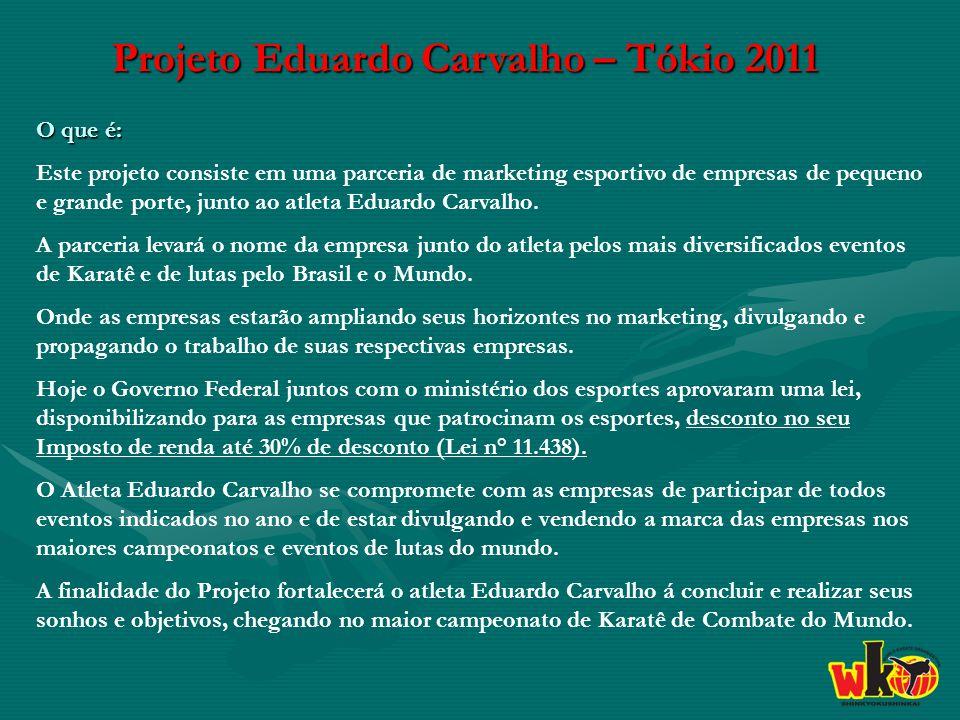 Projeto Eduardo Carvalho – Tókio 2011 O que é: Este projeto consiste em uma parceria de marketing esportivo de empresas de pequeno e grande porte, junto ao atleta Eduardo Carvalho.